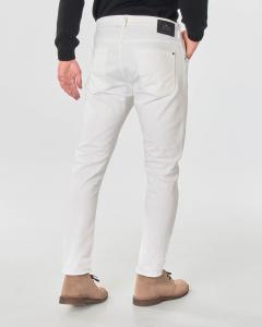 Pantalone cinque tasche bianco in bull di cotone stretch
