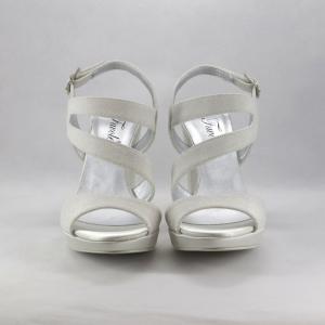 Sandalo sposa con tacco largo micro glitter.