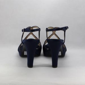 Sandalo cerimonia donna blu in raso con dettagli Svarovsky.