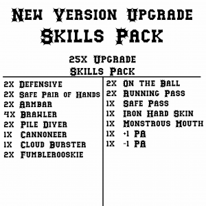 Blood Bowl 2020 Compatible New Version Upgrade Skills Pack (x24)