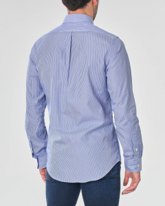 Camicia bastoncino bianco e blu con collo button down