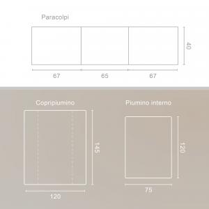 Babysanity® Caldo Piumino Lettino Neonato Completo di Paracolpi Lettino, Federa e Copripiumino Sfoderabile Per l'uso Estivo 100% Cotone -Made in Italy- (Cuore Grigio) related image