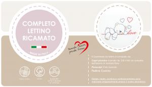 Caldo Piumino Lettino Neonato Ricamato Completo di Paracolpi Lettino, Federa e Copripiumino Sfoderabile Per l'uso Estivo. 100% Cotone (Love Grigio) related image