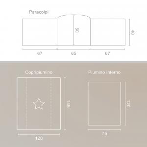 Completo Piumone Lettino Piccoli Orsetti Bianco Grigio  related image