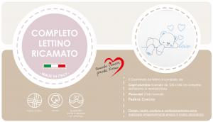 Caldo Piumino Lettino Neonato Ricamato Completo Riduttore, Paracolpi Lettino, Federa e Copripiumino Sfoderabile Per l'uso Estivo. 100% Cotone (Love Azzurro Riduttore Azzurro) related image