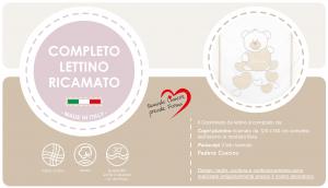 Caldo Piumino Lettino Neonato Ricamato Completo Riduttore, Paracolpi Lettino, Federa e Copripiumino Sfoderabile Per l'uso Estivo. 100% Cotone (BabyBears Beige Riduttore T.U. Beige) related image