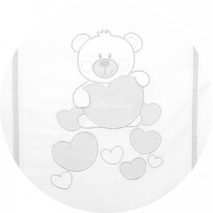 Caldo Piumino Lettino Neonato Ricamato Completo Riduttore, Paracolpi Lettino, Federa e Copripiumino Sfoderabile Per l'uso Estivo. 100% Cotone (BabyBears Grigio Riduttore T.U. Grigio) related image
