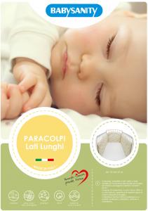 MORBIDO PARACOLPI Lettino Culla Neonato Bambino Protezione Avvolgente Cotone - MADE IN ITALY- Lati Lunghi (Gattino Beige) related image