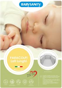 MORBIDO PARACOLPI Lettino Culla Neonato Bambino Protezione Avvolgente Cotone - MADE IN ITALY- Lati Lunghi (Gattino Grigio) related image