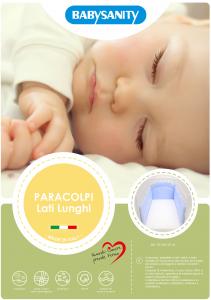 MORBIDO PARACOLPI Lettino Culla Neonato Bambino Protezione Avvolgente Cotone - MADE IN ITALY- Lati Lunghi (Pois Azzurro) related image