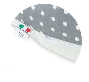 Babysanity® Cuscino Gravidanza Di Qualità' Per Un Allattamento Confortevole Del Neonato Cotone 100% - Made In Italy - (Pois Grigio) related image