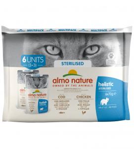 Almo Nature - Holistic Cat Functional - Multipack - Sterilised con Merluzzo e Pollo - 3 x 6 buste 70g