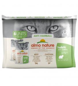 Almo Nature - Holistic Cat Functional - Multipack - Anti-Hairball con Manzo e Pollo - 3 x 6 buste 70g