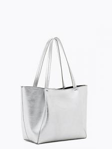 Borsa shopping media in pelle colore silver - PATRIZIA PEPE