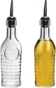 Set 2 pezzi bottiglia per olio e aceto in vetro con beccuccio acciaio inox Officina 1825 ml 268 cm.19h diam.6,3