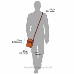Borsello uomo Celeste Scuro e Cuoio con tracolla in pelle - B032 - Pelletteria fiorentina