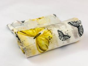 Telo multiuso - mussola in bamboo 100 % - 75x75 - Farfalle - Multicolore