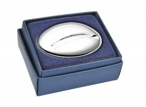 Portabiglietti ovale in silver plated cm.7,3x5,5x2h