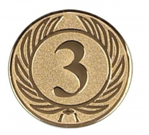 Piastrina terzo posto colore bronzo cm.0,1h diam.2,5
