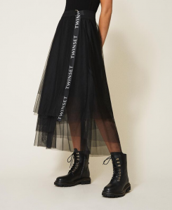 SHOPPING ON LINE TWINSET MILANO GONNA LUNGA IN TULLE CON LOGO NEW COLLECTION WOMEN'S FALL WINTER 2020/2021