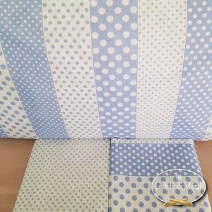 Completo Lenzuola Pois e rigoni azzurro