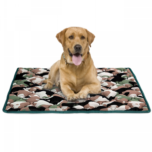 Cuccia per Cane in Memory Foam, Rivestimento Grigio e Militare, Letto Multiuso per Animali Domestici di Taglia Media | DOG