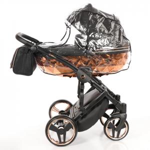 Junama MIRROR - trio con base champagne specchio , telaio champagne e tessuto nero