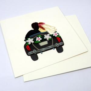 Biglietto augurale in filigrana 'auto sposini' Origamo
