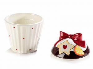 Contenitore a cupcake in ceramica con fiocco rosso