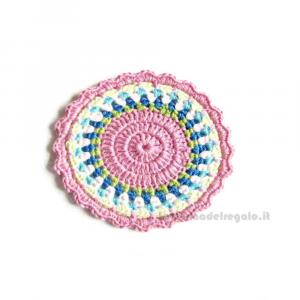 4 pz - Sottobicchiere rotondo colorato ad uncinetto 10 cm - Handmade in Italy