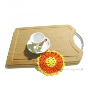 4 pz - Sottobicchiere Arancione e Giallo rotondo ad uncinetto 12 cm - Handmade in Italy