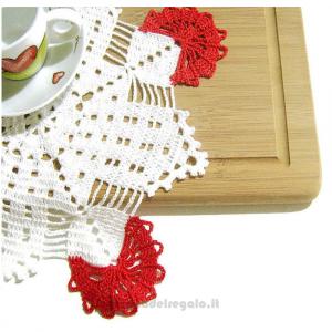 Centrino quadrato bianco e rosso ad uncinetto 32x32 cm - Handmade - Italy
