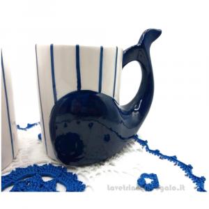 2 Tazze manico a coda di balena e centrino Bianco e Blu ad uncinetto 27 cm - Idea Regalo