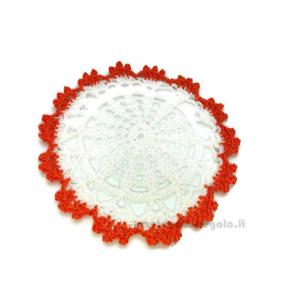 Barattolino gufetto con sottobicchiere bianco e arancione ad uncinetto 13 cm - Idea Regalo