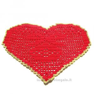 Centrino a Cuore rosso e oro per Natale ad uncinetto 29.5x19.5 cm - Handmade in Italy
