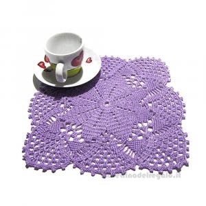 Centrino quadrato lilla ad uncinetto 23x23 cm - Handmade in Italy