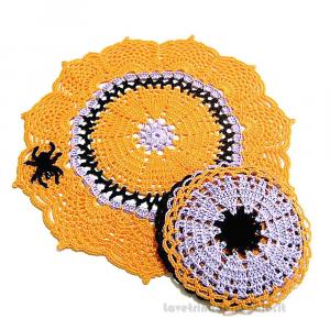 Centrino arancione con 4 sottobicchieri per Halloween ad uncinetto - Handmade in Italy