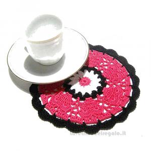 4 pz - Sottobicchiere fucsia e nero ad uncinetto 14 cm - Handmade in Italy