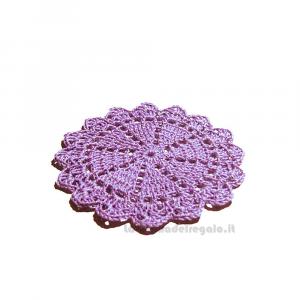 4 pz - Sottobicchiere lilla rotondo ad uncinetto 11 cm - Handmade in Italy