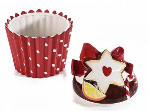 Contenitore grande a cupcake in ceramica con fiocco