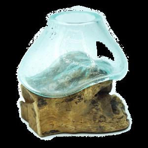 Vasetto in Vetro soffiato su radice spiaggiata