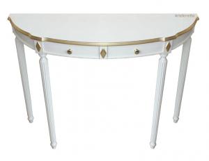 Consola, mesa auxiliar de pared lacada y pan de oro