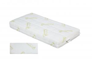 Materasso Lettino o Culla 100% Lattice per Bambini h 12 cm con Cuscino Antisoffoco su misura in omaggio, Rivestimento Sfoderabile Tessuto in Fibra di BAMBOO Anallergico Lavabile | OLAF