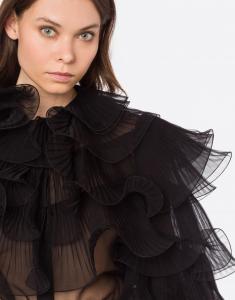 camicia chiffon nera con ruches Alberta Ferretti
