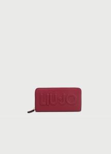Portafoglio XL Zip Around Maxi Logo ciliegia LIU JO