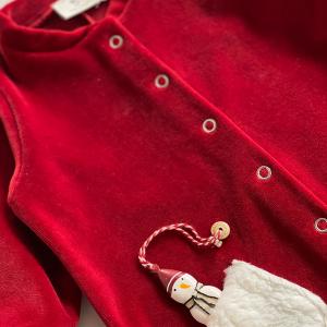 Tutina con piedino in ciniglia di cotone biologico color rosso