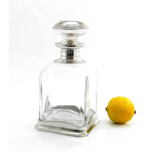 Bottiglia in vetro soffiato e peltro per whisky