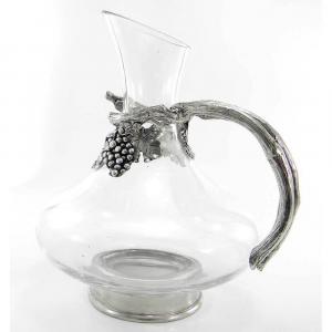 Decanter in vetro soffiato e peltro con manico
