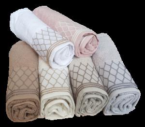 GF FERRARI Set bagno Dis. 7 Asciugamani 6 Viso + 6 ospiti in spugna Cotone 100%