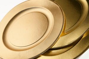 Piatto Righe in cartoncino Oro Satinato cm. 21